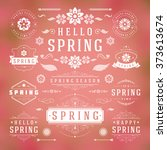 spring typographic design set.... | Shutterstock .eps vector #373613674