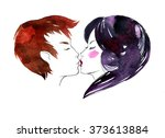 watercolor illustration of a... | Shutterstock . vector #373613884