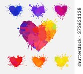 set of colorful hearts, vector hearts with paint splatters and stains; blue, purple, violet, red, orange and yellow colorful hearts, Valentine's day clip-art