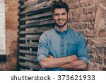smiling and handsome.handsome... | Shutterstock . vector #373621933