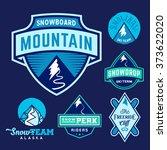 set of ski snowboard snow... | Shutterstock .eps vector #373622020