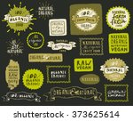 retro set of 100  bio  organic  ... | Shutterstock .eps vector #373625614