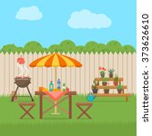 house backyard with grill.... | Shutterstock .eps vector #373626610