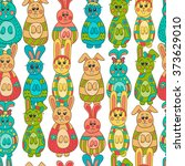 seamless pattern with easter... | Shutterstock .eps vector #373629010