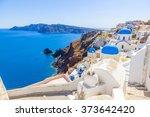 greece santorini church domes | Shutterstock . vector #373642420