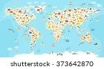 world mammal map. beautiful... | Shutterstock .eps vector #373642870