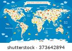 animals world map birds ... | Shutterstock .eps vector #373642894