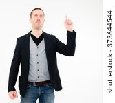 Small photo of Assertive caucasian business man presenting something