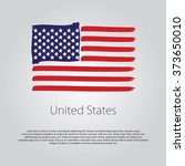 united states flag with colored ... | Shutterstock .eps vector #373650010