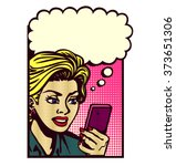 retro comic book style woman... | Shutterstock .eps vector #373651306