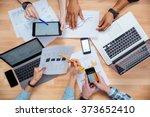business people using mobile... | Shutterstock . vector #373652410