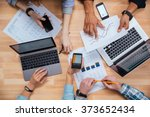 top view of group of business... | Shutterstock . vector #373652434