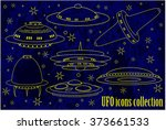 flying saucer  spaceship and... | Shutterstock .eps vector #373661533