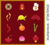 chinese new year flat icons | Shutterstock .eps vector #373670410