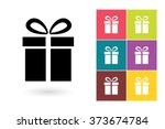 set of gift icon on different...