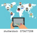 vector video conference call... | Shutterstock .eps vector #373677208