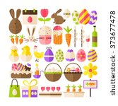 big collection of happy easter... | Shutterstock .eps vector #373677478
