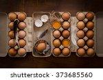chicken eggs flat lay still...   Shutterstock . vector #373685560