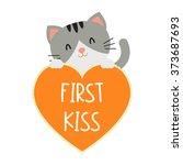 first kiss conversation hearts...   Shutterstock .eps vector #373687693