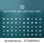 set of 50 universal sport and... | Shutterstock .eps vector #373689043