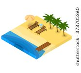 a holiday by the sea. sandy... | Shutterstock .eps vector #373705360