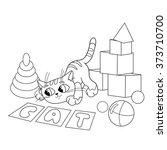 Stock vector coloring page outline of cartoon cat playing with toys coloring book for kids 373710700