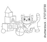 Stock vector coloring page outline of cartoon cat playing with toys coloring book for kids 373710730