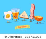 breakfast. funny characters egg ... | Shutterstock .eps vector #373711078