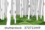 white forest and green meadow ... | Shutterstock .eps vector #373712449