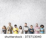 group of people connection... | Shutterstock . vector #373713040