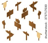isometric wooden pointers.... | Shutterstock .eps vector #373717030
