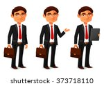 young cartoon businessman in... | Shutterstock .eps vector #373718110