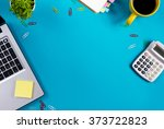 office table desk with set of... | Shutterstock . vector #373722823