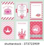 princess birthday party... | Shutterstock .eps vector #373723909