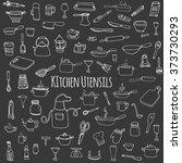 hand drawn doodle kitchen... | Shutterstock .eps vector #373730293