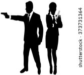 young couple with handguns   Shutterstock .eps vector #373731364