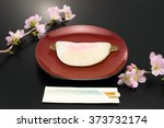 hanabira mochi and cherry...   Shutterstock . vector #373732174