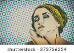 pop art comic style woman ... | Shutterstock . vector #373736254