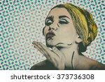 pop art comic style woman ... | Shutterstock . vector #373736308