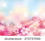 cherry blossom and blue sky... | Shutterstock .eps vector #373737040