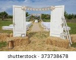 venue decorated for wedding...   Shutterstock . vector #373738678