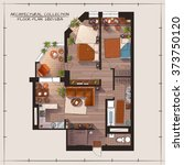 architectural color floor plan... | Shutterstock .eps vector #373750120