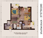 architectural color floor plan... | Shutterstock .eps vector #373750180