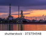 oil refinery industry plant at... | Shutterstock . vector #373754548