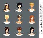 vector wedding hairstyle avatar ... | Shutterstock .eps vector #373759750