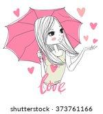 cute girl with umbrella in... | Shutterstock .eps vector #373761166