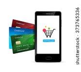 mobile phone internet shopping... | Shutterstock .eps vector #373765336