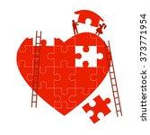 man and woman build jigsaw... | Shutterstock .eps vector #373771954