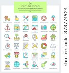 set of modern thin line icons... | Shutterstock . vector #373774924