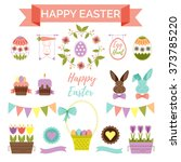 easter scrapbook set   labels ... | Shutterstock .eps vector #373785220